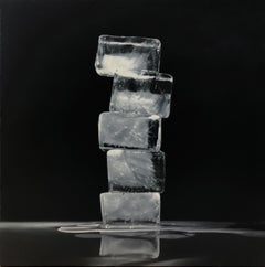 RISE AND FALL, OBELISK 2, photo-realism, black and white, monochrome, ice cubes