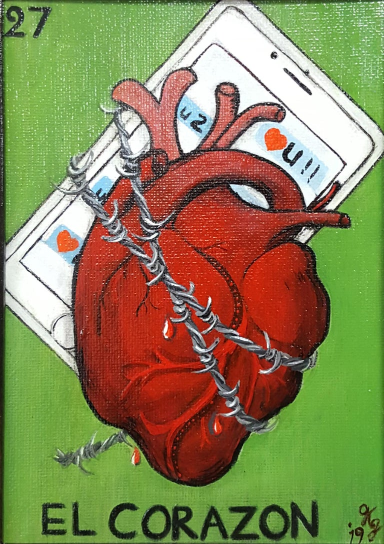 El Corazon The Heart chained to a cellphone Comes Framed  the painting is 7x5  About the Artist: Georgia Griffin is a self-taught artist working primarily in acrylic and oil. She also enjoys exploring clay, resin and assemblage works, writing and