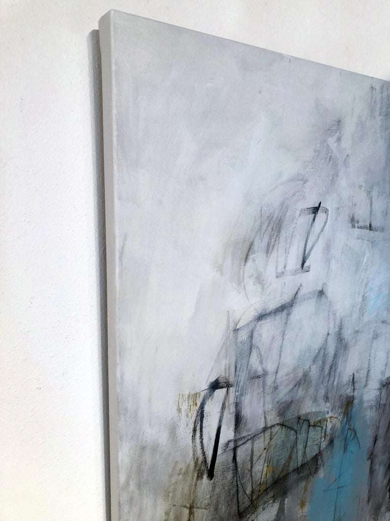During A Rainy Afternoon - Gray Abstract Painting by Julie Schumer