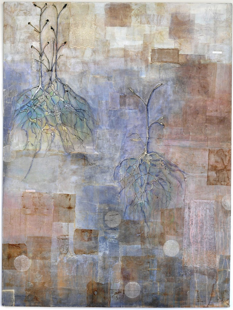Gabriela puts a modern twist on this mixed media work, toying with the 1970's/80's Pattern & Decoration Movement. Using thread stitching and mixed materials, Gabriela layers paper, ink, and paint.   About the artist: Gabriela Domville Dondisch is a