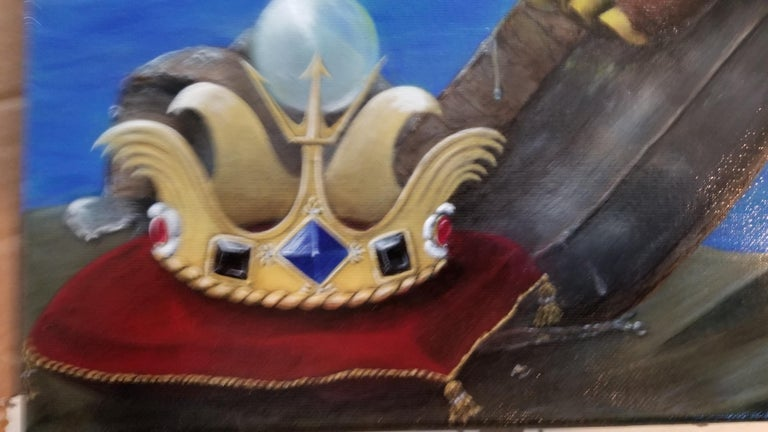 King Richard Eel - Blue Figurative Painting by Georgia Griffin