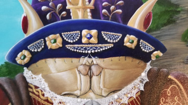 """King Henry Vlll painted as a crab. Close attention to detail. Surreal Dark Humor COMES ON STRETCHED CANVAS, UNFRAMED.  About the Series: """"Sovereigns of the Sea.""""  The series grew out of an amusing little sketch she did of a fish in a gown.  Very"""