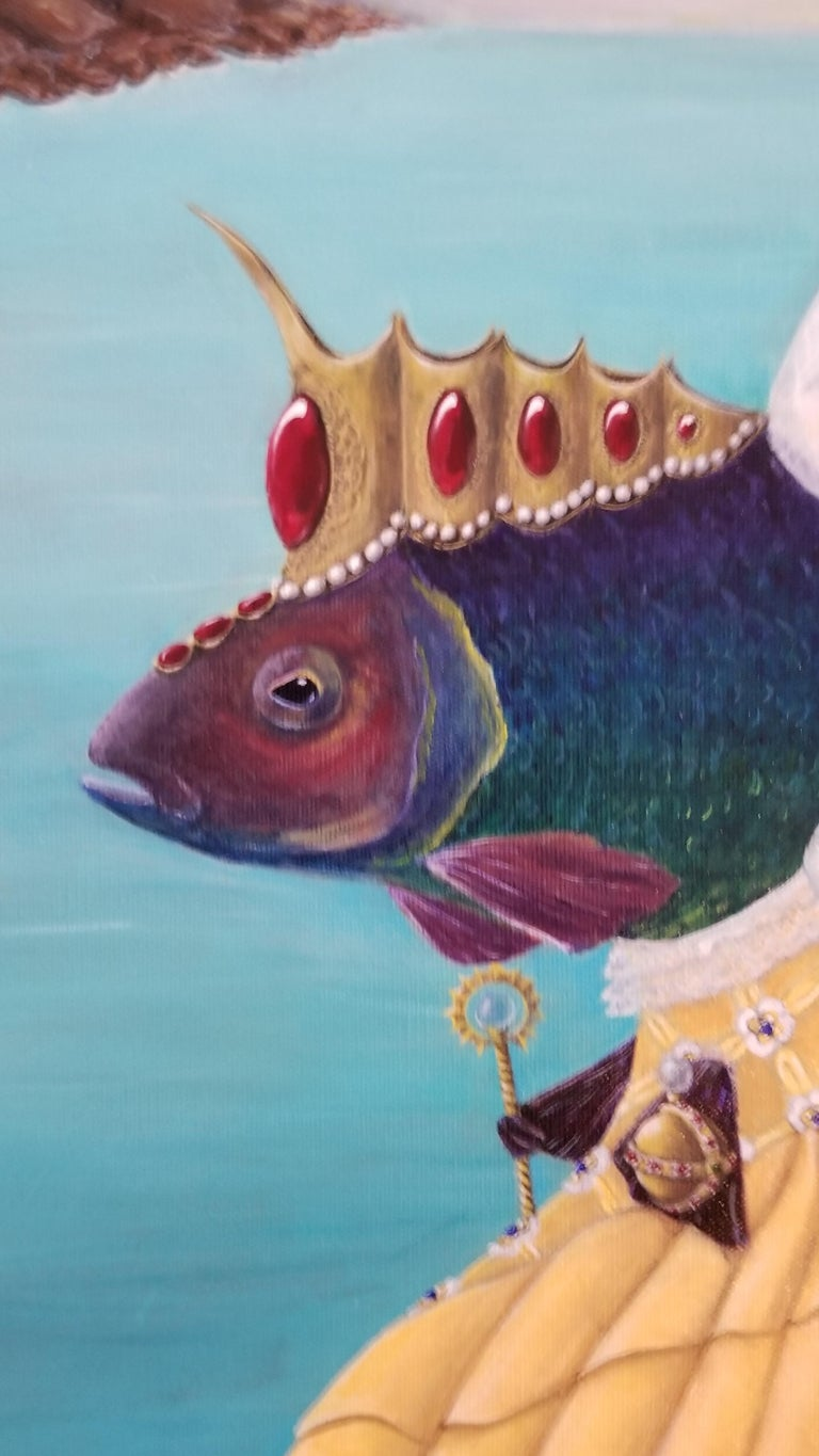 """Close attention to detail. Surreal Dark Humor COMES ON STRETCHED CANVAS, FRAMED.  About the Series: """"Sovereigns of the Sea."""" The series grew out of an amusing little sketch she did of a fish in a gown. Very soon she was researching official"""