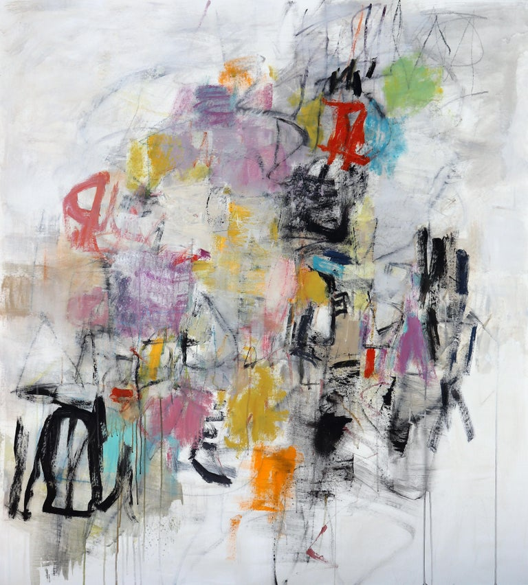 Mid Journey, mixed media on canvas, 59 X 52 X 1 $6400 This large abstract painting combines an interplay of bright playful color with perfect composition and balance.  For exact shipping costs, please give location.  About the Artist: Julie Schumer,