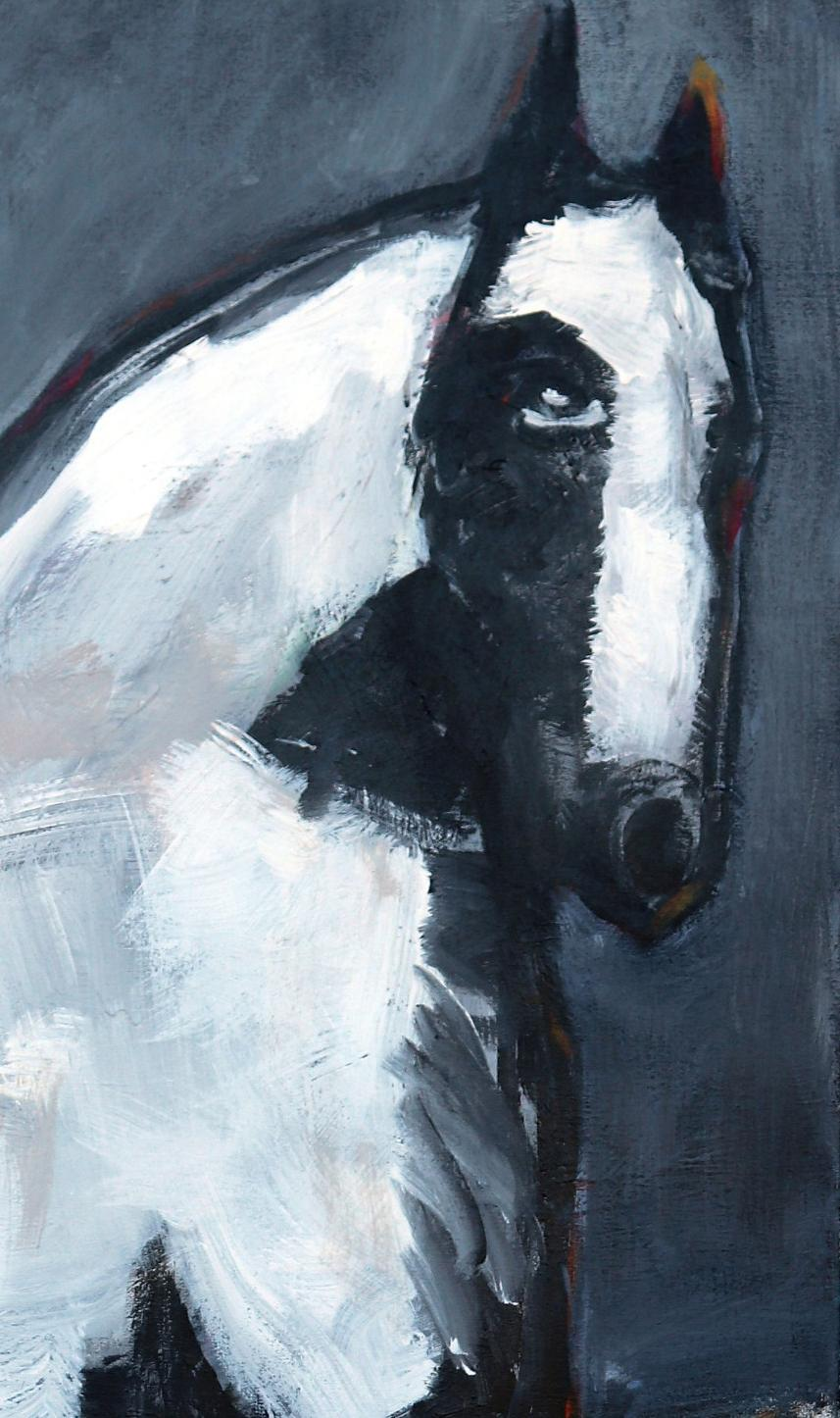 James Koskinas Gray Rider On White Horse For Sale At 1stdibs