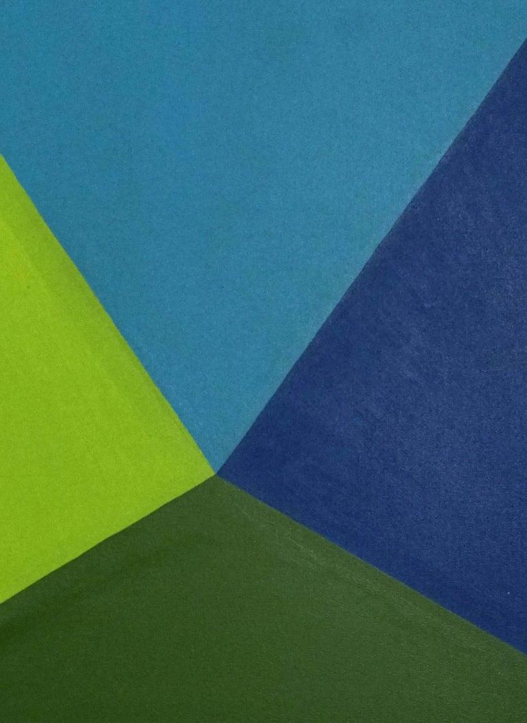 Triangulo de Azules - Op Art Painting by Maria Eugenia Casuso