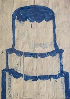 Cake Stacked: Blue on White