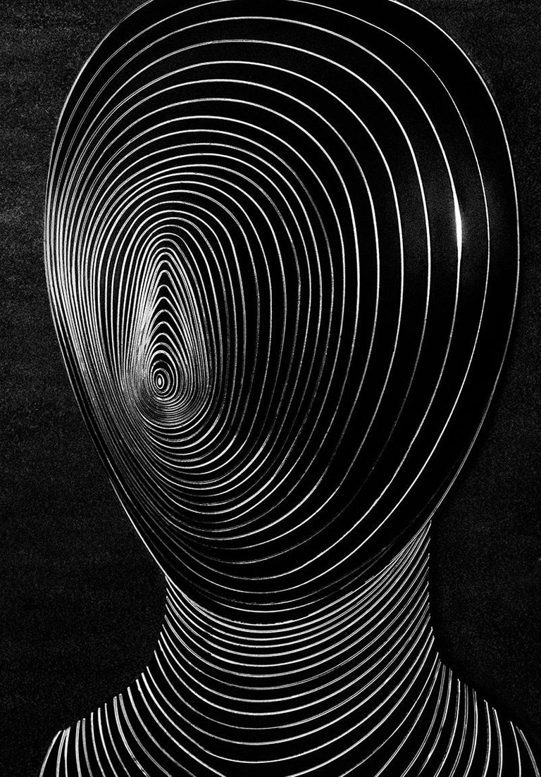Txema Yeste Black and White Photograph - Silver Metal Over Black Methacrylate
