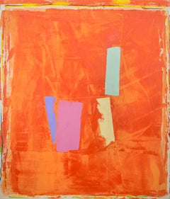 Large bold post-modern abstraction in orange, yellow, pink and green