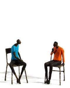 Deux hommes en attente, bleu et orange