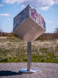 Platonic Solid Goes Digital - big outdoor steel sculpture. colorful motherboards