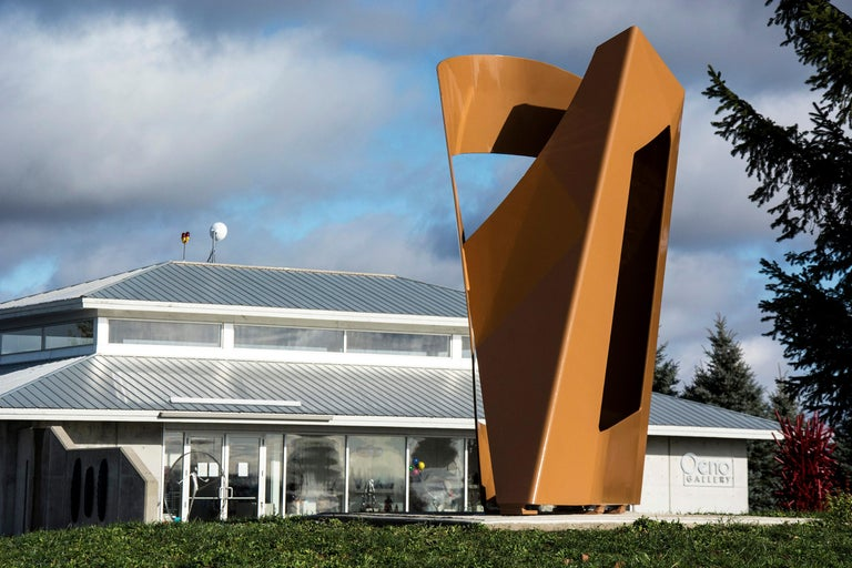 Les Paravents Du Reve - Large scale outdoor sculpture in lusterious burnt umber - Sculpture by Marcel Barbeau RCA