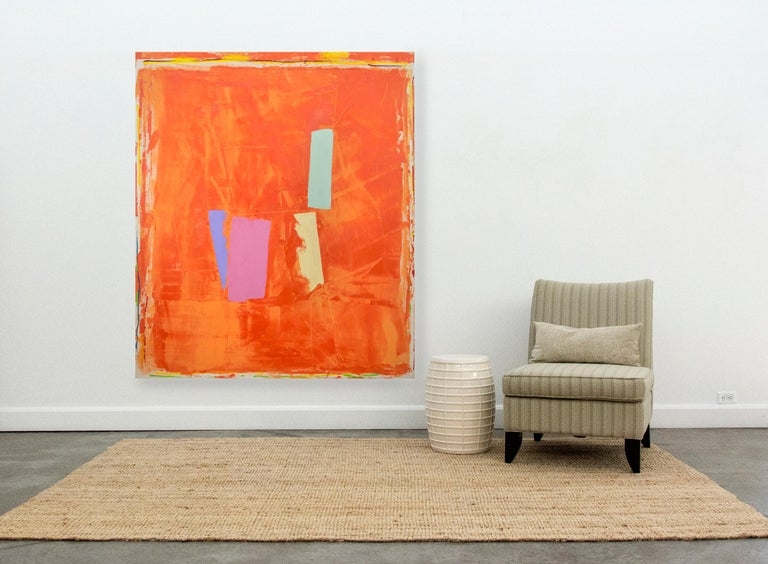 Untitled #1 - Orange Abstract Painting by David Bolduc