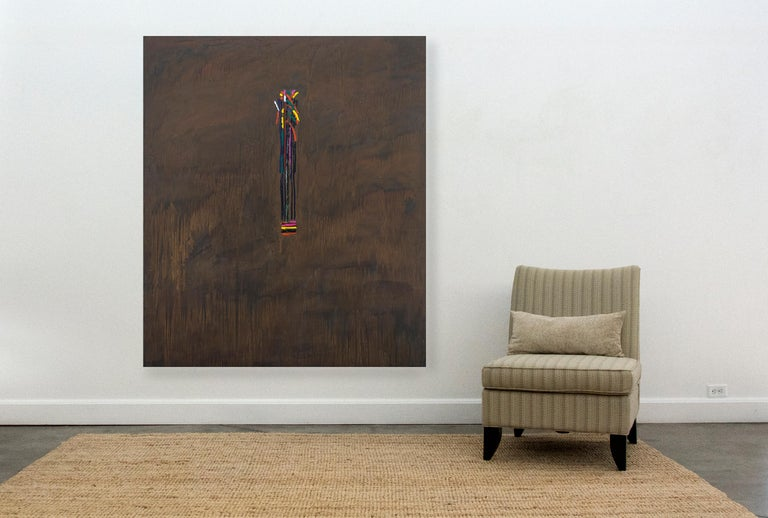 An organic bar motif in bright yellow, fuchsia, teal and white hovers at the center of a burnt sienna ground in this bold acrylic by David Bolduc.   In his abstract canvases, rich in historical references from his travels, Bolduc uses curated motifs