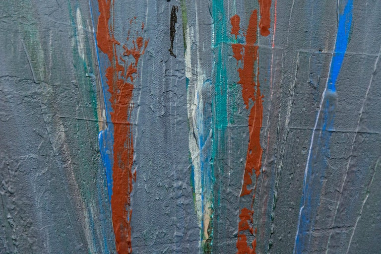 Motifs of blue-grey feathered grass shot through with lines of yellow, green, blue and poppy red hover on a ground soaked in silver pigment in this canvas by David Bolduc. In his abstract canvases, rich in historical references from his travels,