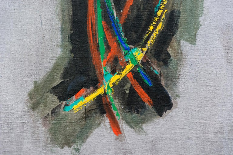 A spray of grey, green, orange and yellow, like tall grasses are at the centrt of a silver ground in this acrylic by David Bolduc.  In his abstract canvases, rich in historical references from his travels, Bolduc uses curated motifs often placing