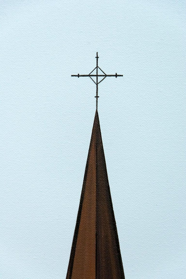 The iconic profile of a village church appears to float on a snow covered ground in this ethereal painting by Montreal painter F. Lipari.  Lipari's use of an over all light almost without shadow and his spare use of line and color emphasizes the