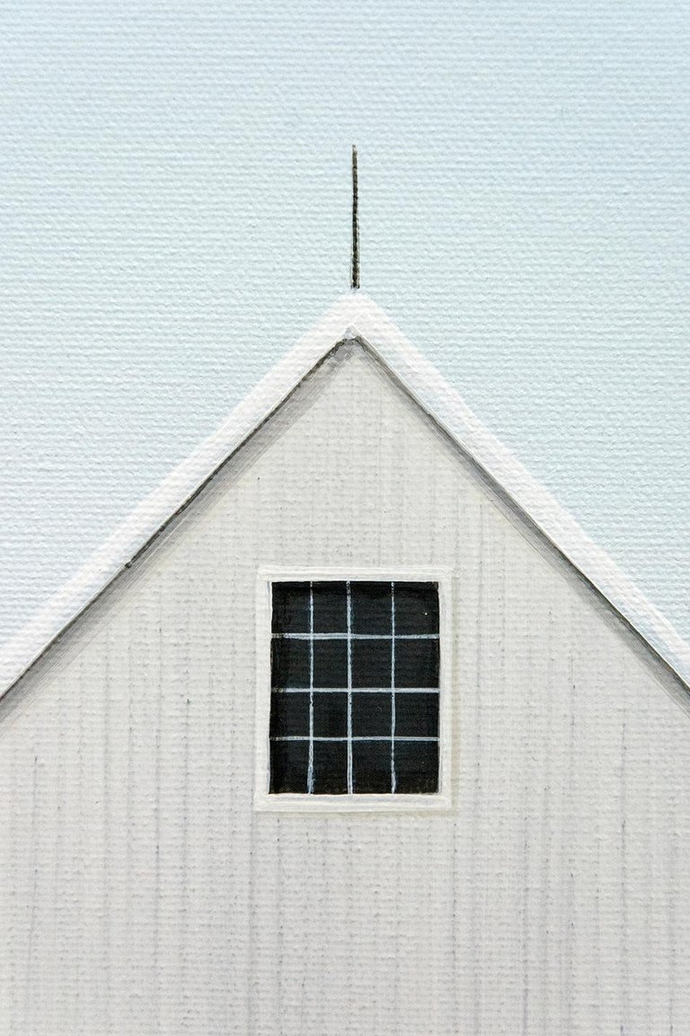 A white barn against a pale sky appears to float on a snow covered ground in this ethereal image by Quebec painter F. Lipari. The artist's restrained use of color, line, texture and light gives his work a stillness reminiscent of paintings by