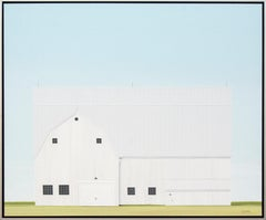 Sheltered - minimalist, serene, white, green, realist barn scene, acrylic canvas