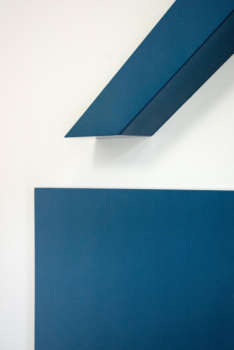Conviction, Blue - Brown Abstract Sculpture by  Lori Cozen-Geller