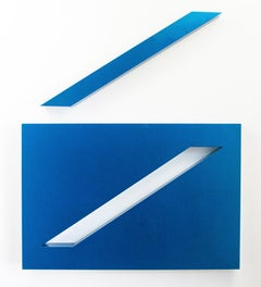 Conviction, Blue - bright, blue, glossy smooth surfaced, abstract wall sculpture