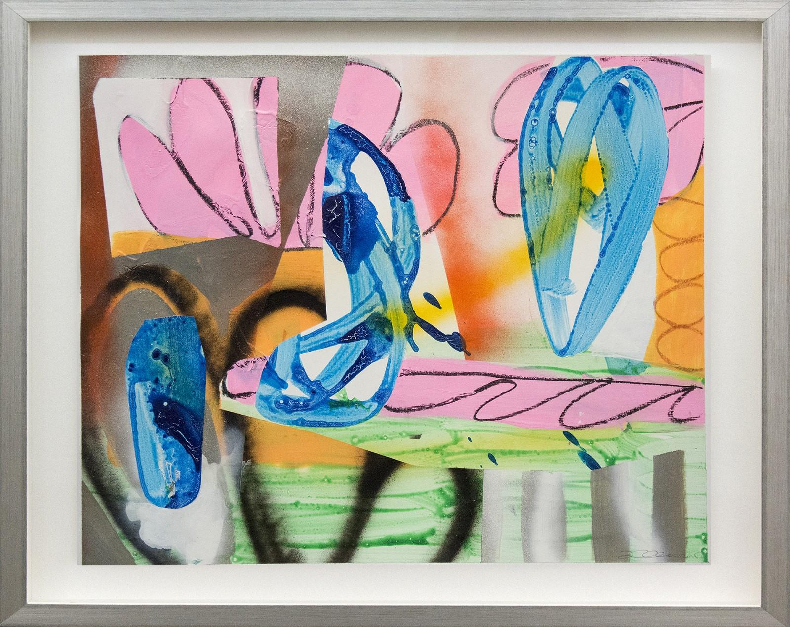 Composition No 14 - plant-like collaged shapes in pink, orange, blue, and green