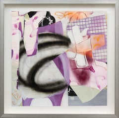 Composition No 18 - colorful collage in violet, peach, pink and tangerine