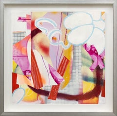 Composition No 20 - colorful collage in bright magenta, red, yellow and orange
