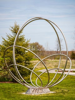 Six Rings - large outdoor steel abstract sculpture