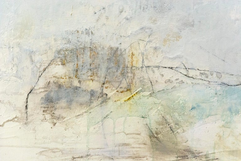 Lure Us Again - Beige Abstract Painting by Sharon Kelly