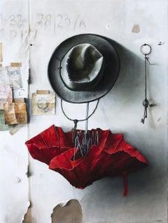 Red Umbrella - Vibrant still life oil on canvas