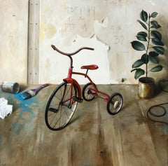 Red Tricycle - bright, vivid detail, realist, interior, still-life oil on canvas