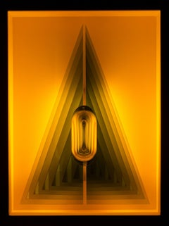 Acute Triangle - Illuminated geometric forms in amber yellow