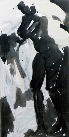 Untitled No 22 - Large, life size gestural painting of a nude female figure