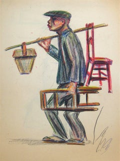 Man with Chair, Oil Pastel Drawing, Mid 20th Century