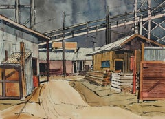 Industrial Landscape in Watercolor and Ink, 1958