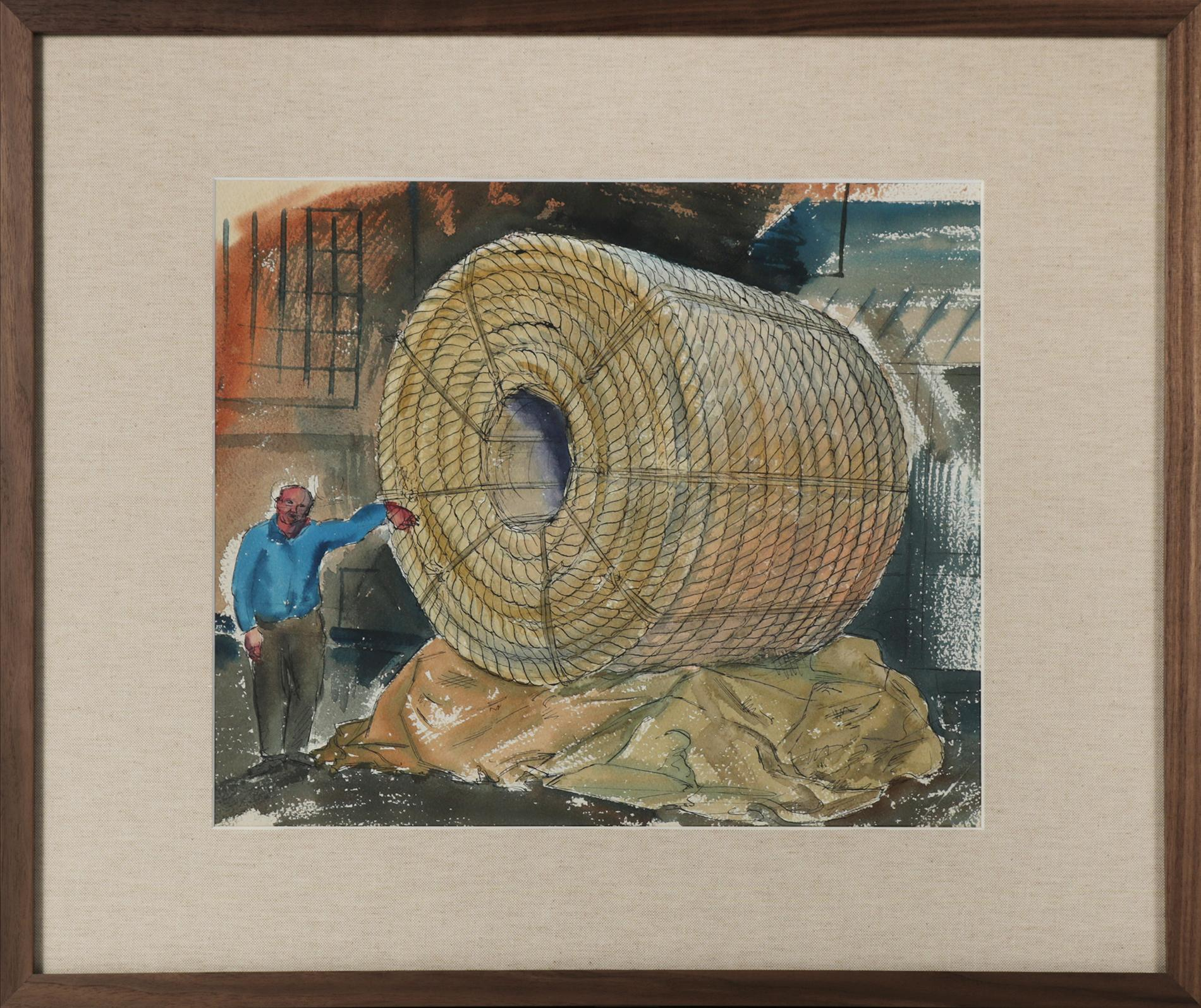 """""""Showing Size of Circumference"""" Mid Century WPA Watercolor"""