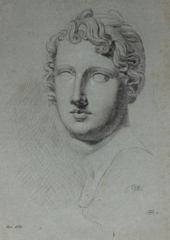Study of a Roman Statue, Charcoal Drawing, 1828