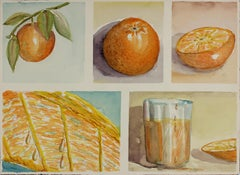Still Life with Oranges, Watercolor on Paper, Mid-Century