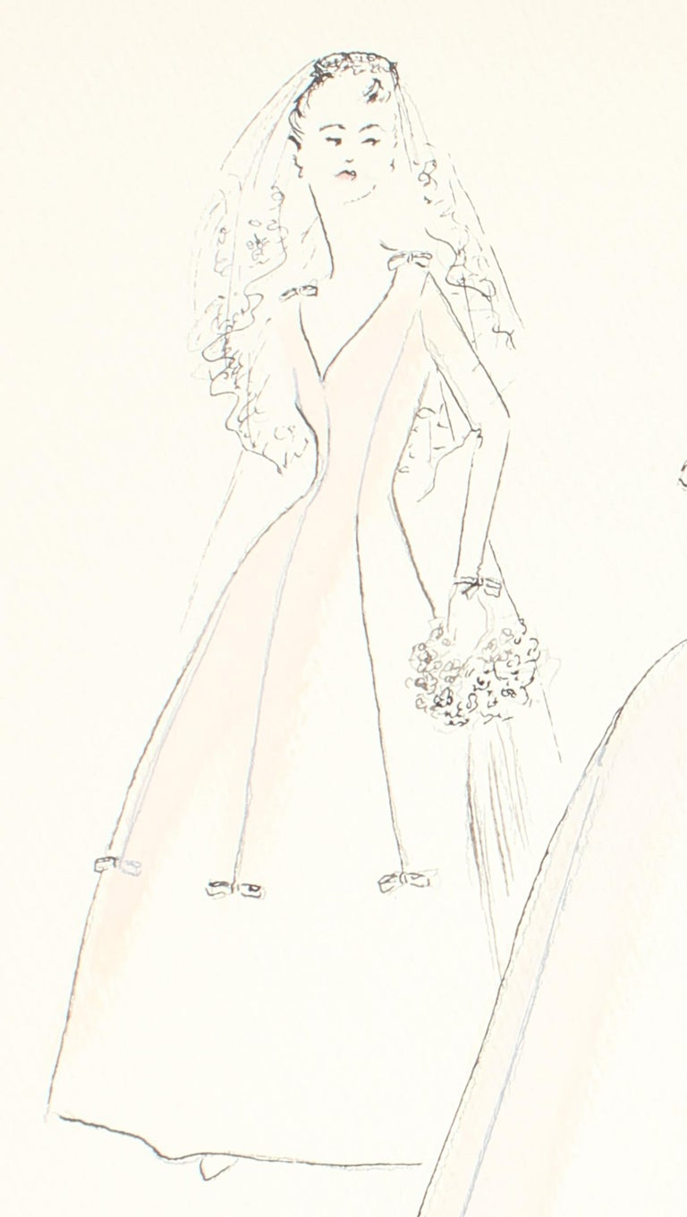 Delicate Wedding Dress Fashion Illustrations, Ink and Gouache Drawing, 1950s - American Modern Art by Gibson Bayh
