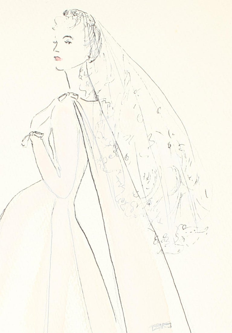 Delicate Wedding Dress Fashion Illustrations, Ink and Gouache Drawing, 1950s - Art by Gibson Bayh