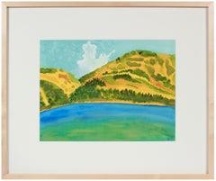 """California Summer Lake"" Mendocino Landscape in Watercolor, 2017"