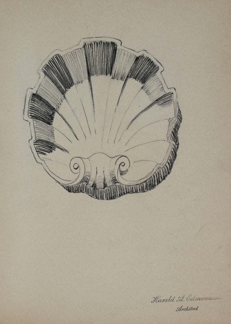 Harold A. Edmondson Still-Life - Seashell Architectural Detail Drawing in Graphite, 1920s