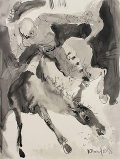 Cowboy and Horse, Monochromatic Ink Painting, Circa 1970s