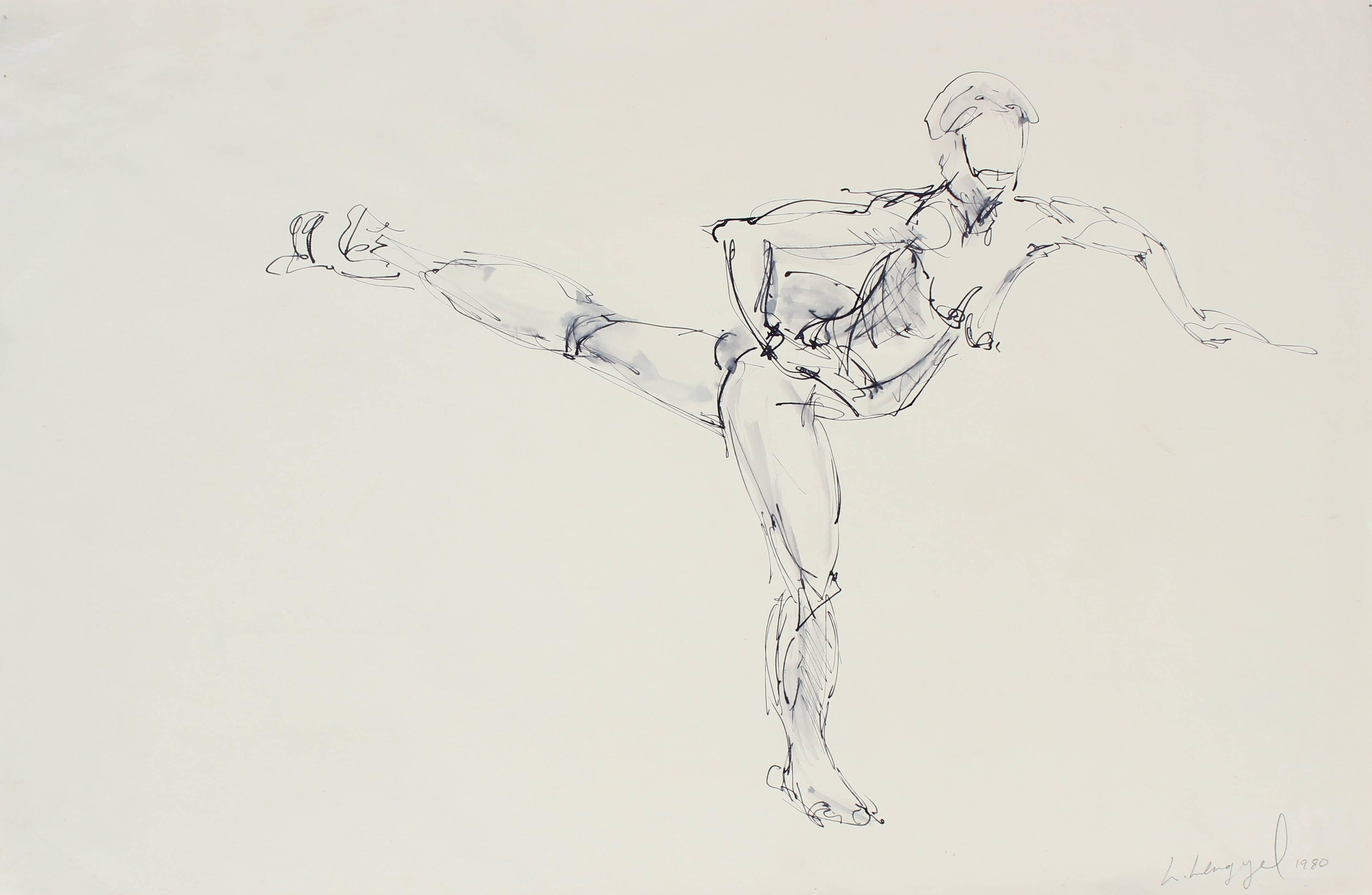 """""""Life Drawing in Fairfax Church, Patty Dancing"""" Ink on Paper Figure Study, 1980"""