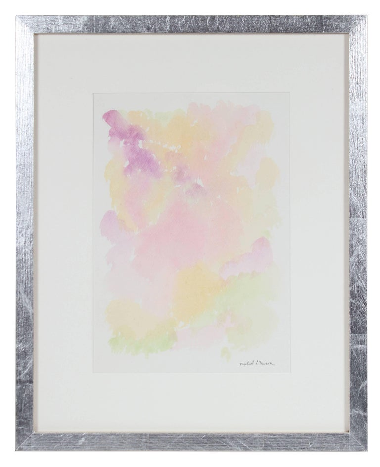 This 1963 watercolor on paper abstract in pink, purple, orange, yellow, and green is by Chicago painter and printmaker Michael L. Mason (1896-1963). Mason received his PhD in Anatomy from Northwestern University School of Medicine in 1924 and became