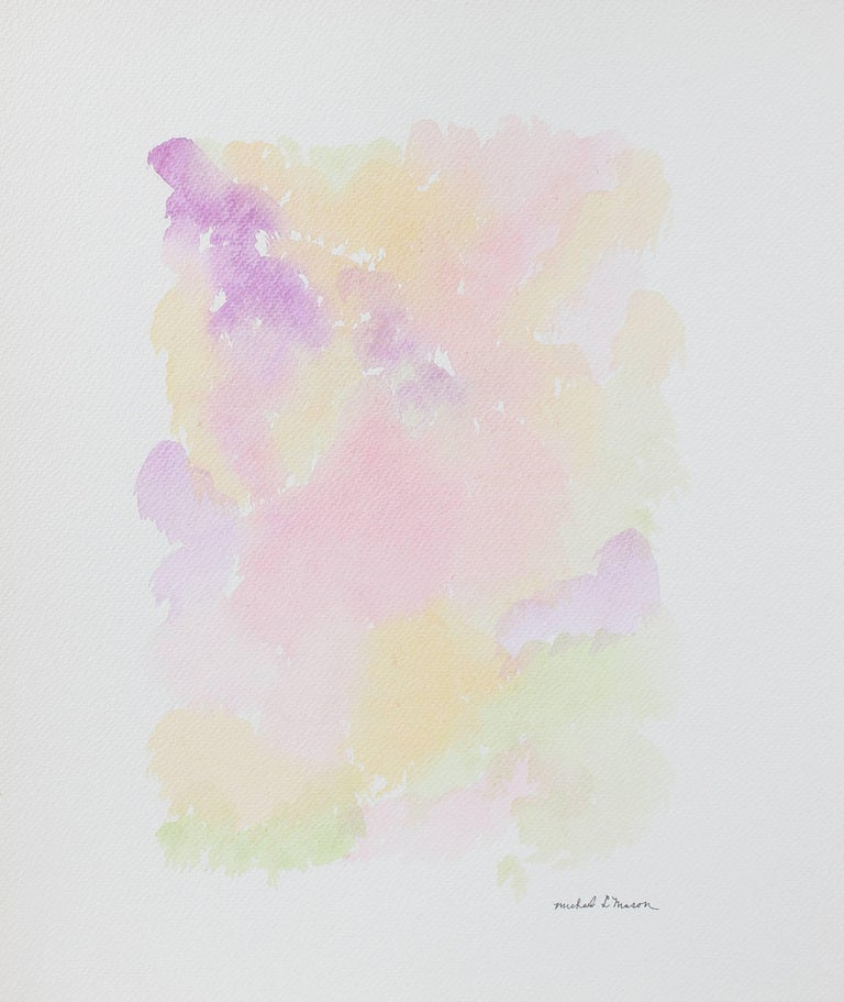 Pale Abstract Watercolor Painting in Pink, Purple, Orange, Yellow, Green, 1963 For Sale 1