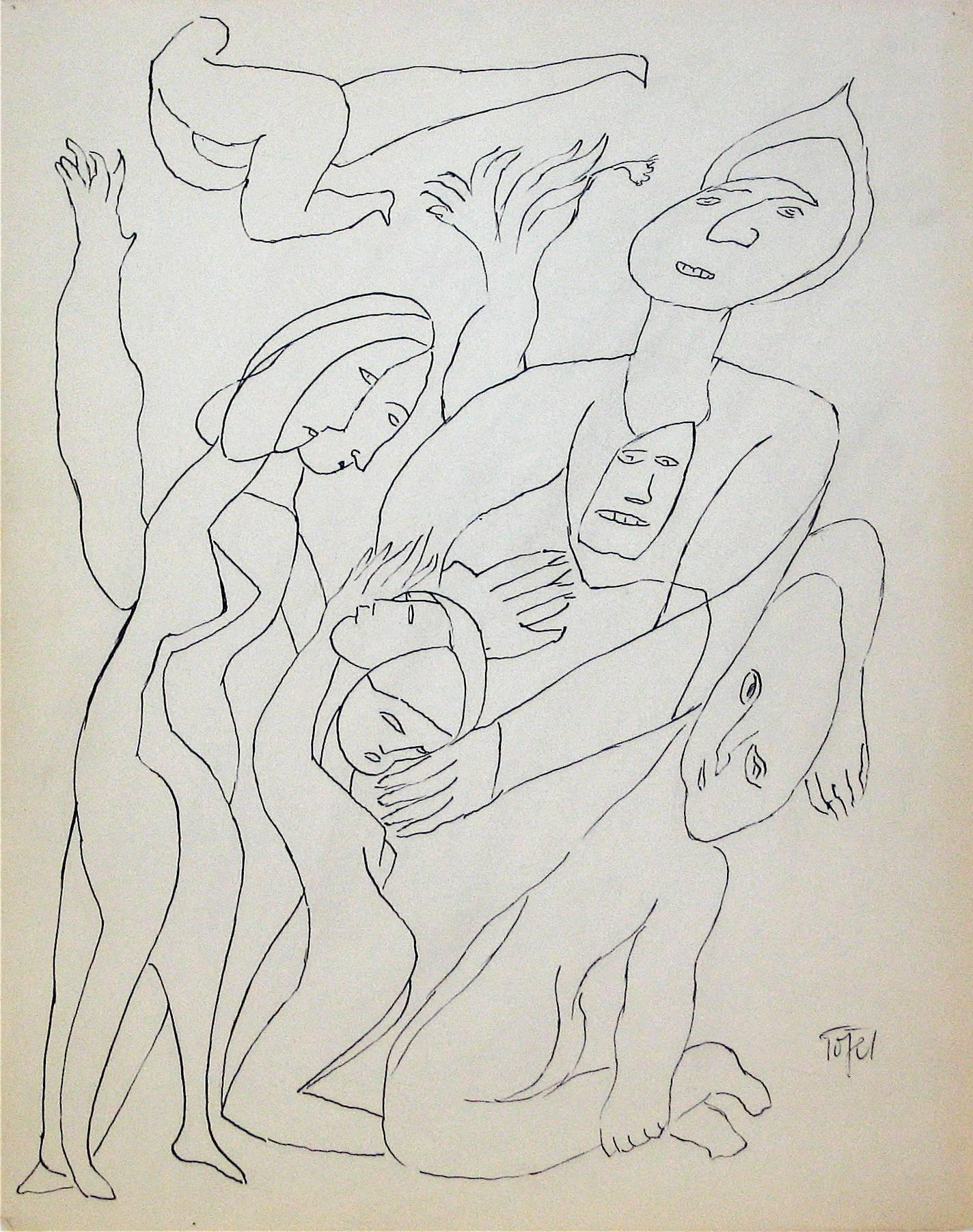 Figurative Line Drawing in Ink, Early 20th Century