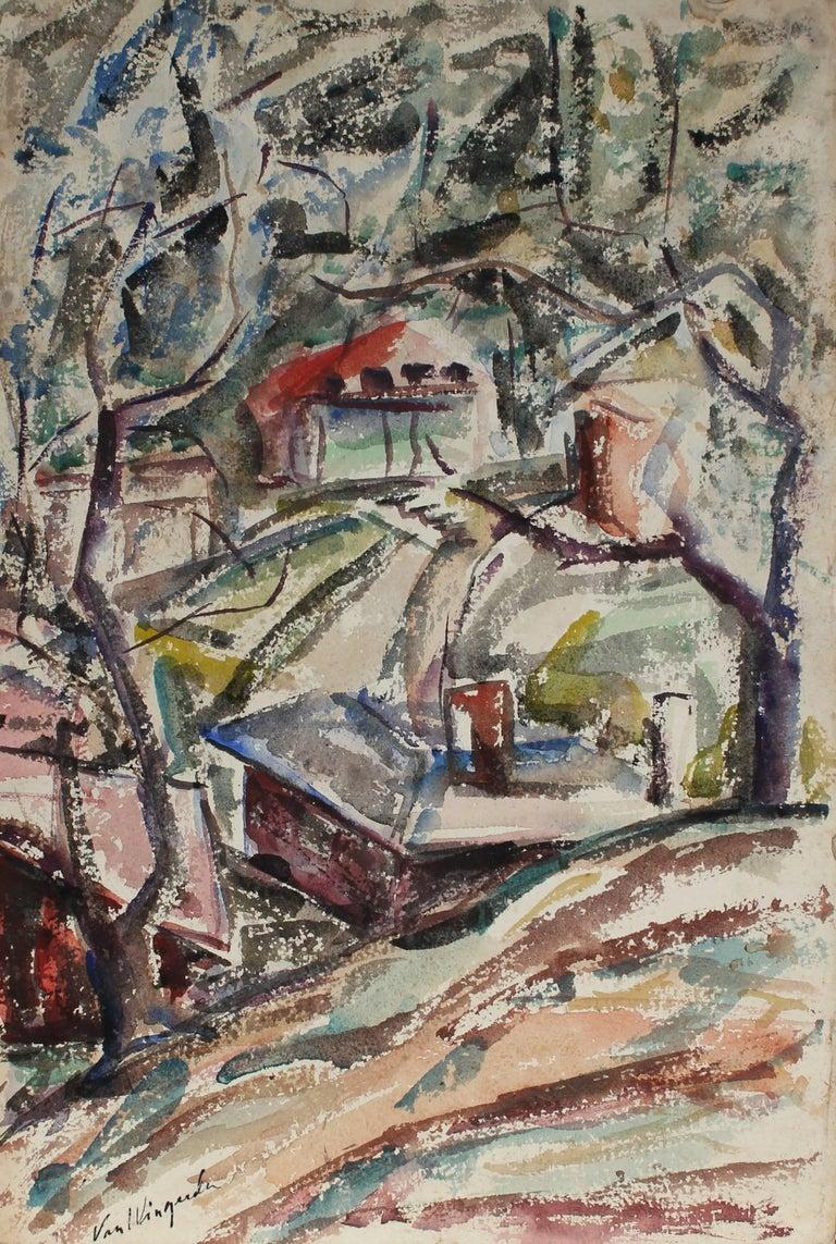 Richard Van Wingerden Landscape Art - Houses in the Forest Landscape, Mid Century, Watercolor on Paper