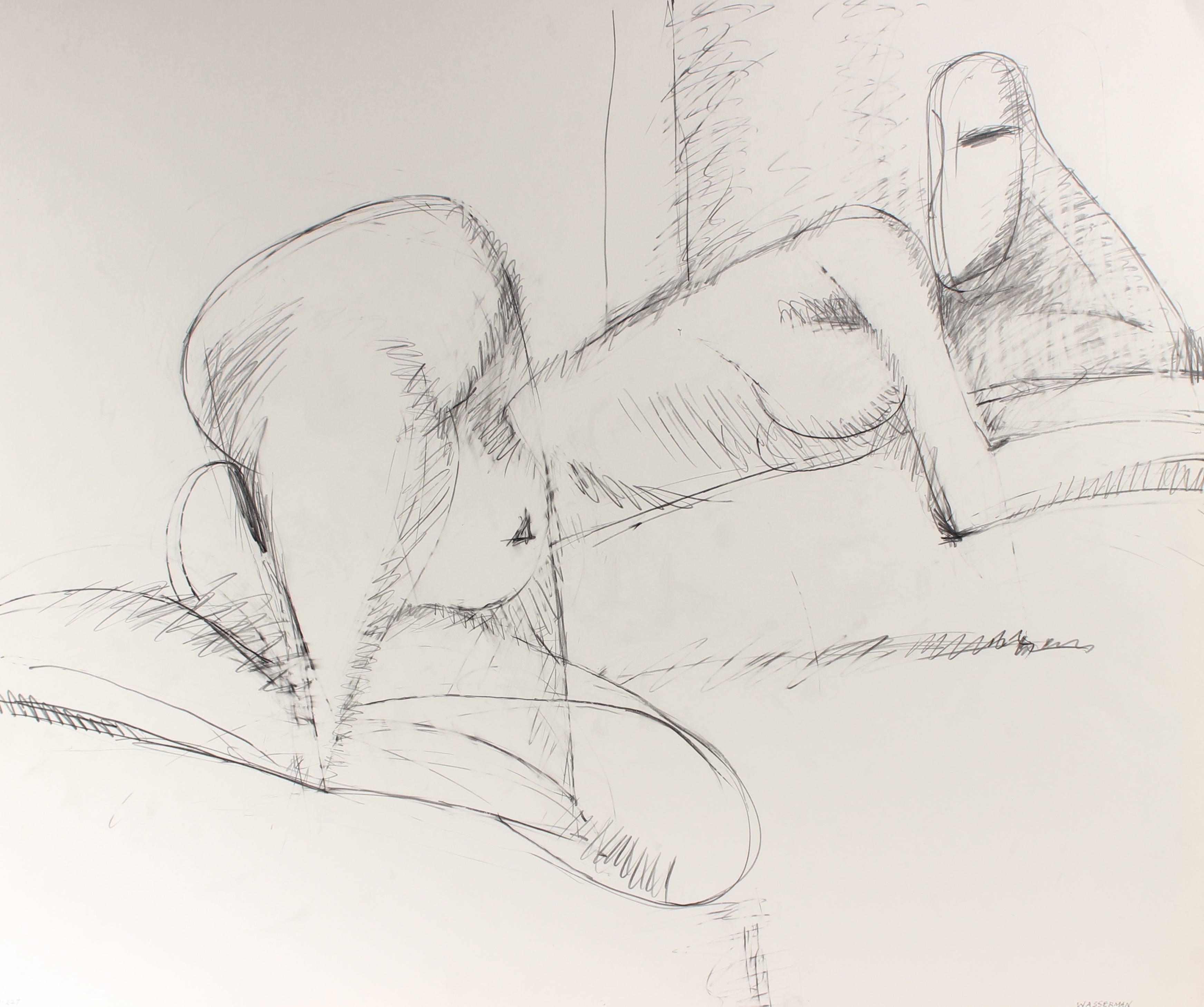 Minimalist Figure Drawing in Graphite, Circa 1998